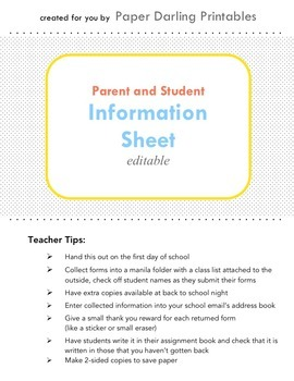 Parent and Student Information and Contact Sheet *EDITABLE*