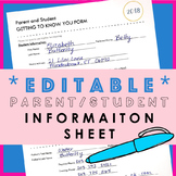 Parent / Student Information and Contact Sheet / Form *EDI