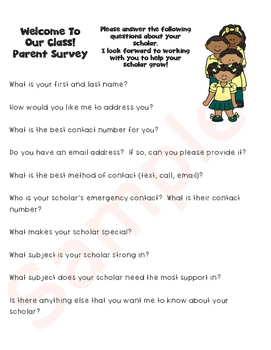 Parent and Student Survey...Back to School featuring Black Clip Art!