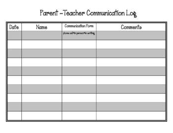 Parent and Teacher Communication Log
