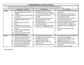 Parent and Teacher Speech Milestone Checklist