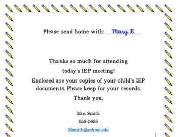 Parent copies cover page for IEP documents [editable]