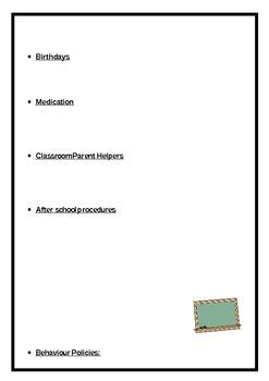 Parent information booklet editable