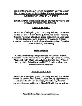 Parent Information for Gifted Children
