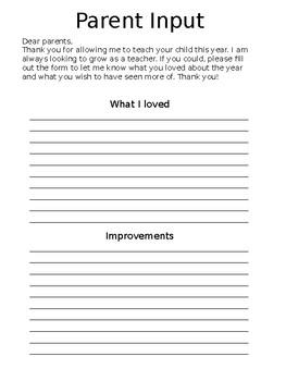 Parent input form