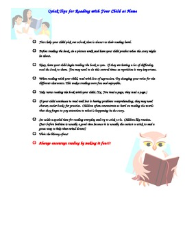 Parent letter Quick Tips for Reading with your Child at Home