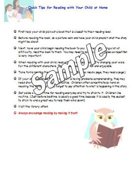Parent letter Tips for Reading with your Child at Home with question cards