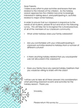 Parent letter about winter holidays