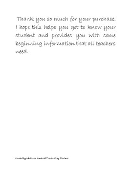 Parent letter and All About Me English/Spanish