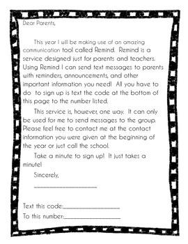 Parent letter for Remind