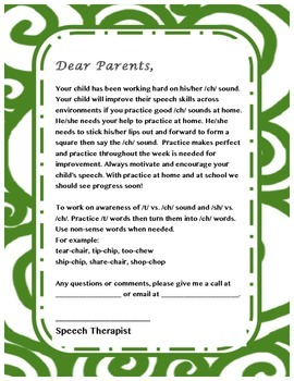 Parent letter for /ch/ sound- Speech Therapy