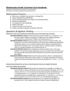 Grade 3 Common Core Standards (Math, Reading, Language Art