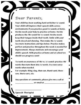 Parent letter for /s/ sound- Speech Therapy