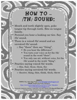 Parent letter for /th/ sound- Speech Therapy