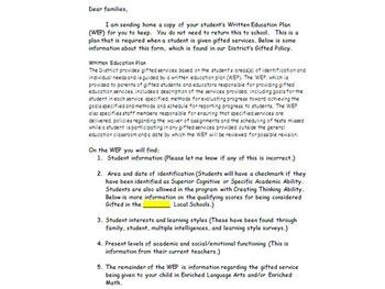 Parent letter to explain a student's Written Education Plan (WEP)