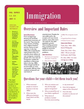 Parent newsletter - Immigration