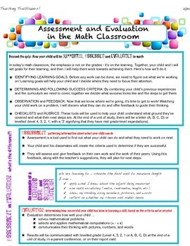 Parent newsletter for math program
