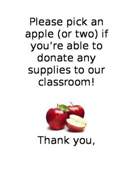 Parent night class wish list sign