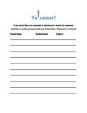 Parent or Adult Volunteer Sign-Up Sheet