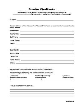 Parent or Guardian Questionnaire or Survey