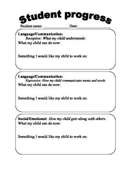 Parent questionaire on student progress
