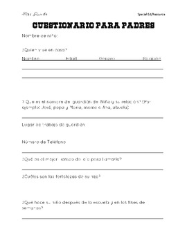 Parent questionnaire English/Spanish