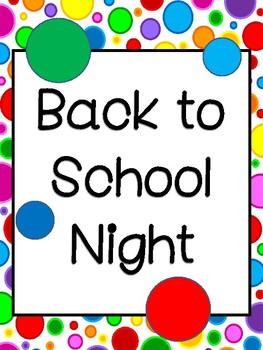 Back To School Night: Editable