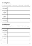 Parent-teacher Interview Goal Focus Record Sheet