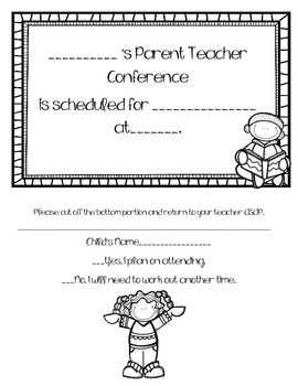 Parent teacher conference and walking report card reminder notes