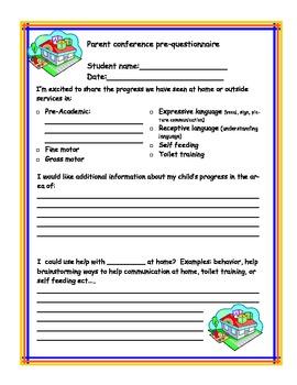 Parent teacher conference per-questionaire
