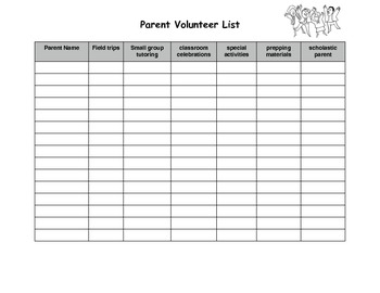 Parent volunteer list