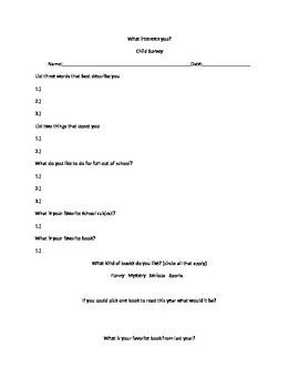 Parent/Child Survey