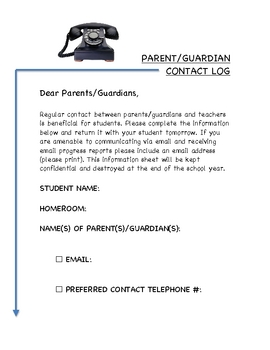 Parent/Guardian Contact Log