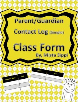 Parent/Guardian Contact Log (Simple)