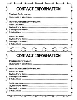 Parent/Guardian Information Sheet