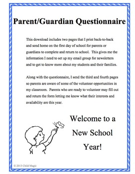 Parent/Guardian Questionnaire and Volunteer Info