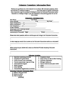 Parent/Guardian Volunteer Sign-Up Sheet (English and Spani