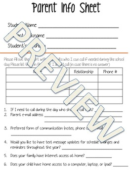 Parent/Student Info Sheet