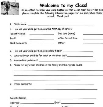 Parent/Student Information Sheet for Elementary