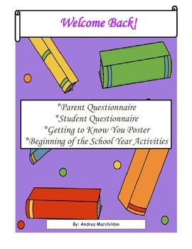Parent/Student Questionnaires & Beginning of School Activities
