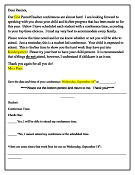 Parent/Teacher Conference Confirmation Letter to Parents by