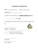 Parent/Teacher Conference Confirmation Sheet