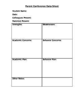 Parent/Teacher Conference Document