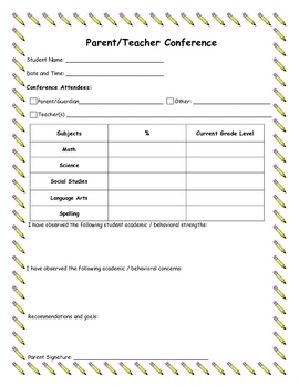 Parent/Teacher Conference Form