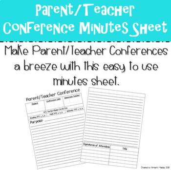 Parent/Teacher Conference Minutes Page