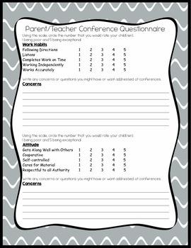 Parent/Teacher Conference Questionnaire