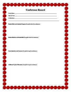 Parent/Teacher Conference Record