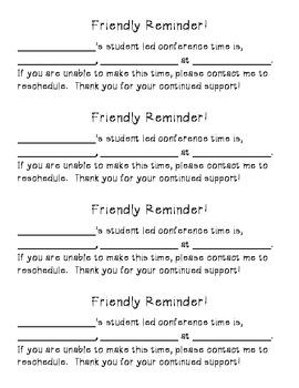 Parent/Teacher Conference Reminder Slips
