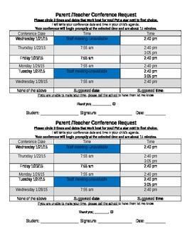 Parent/Teacher Conference Sign Up Sheet