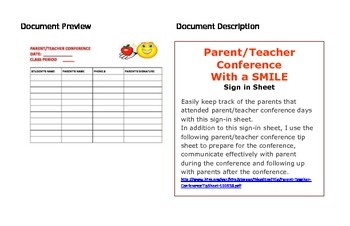 Parent/Teacher Conference With a SMILE (sign in sheet)